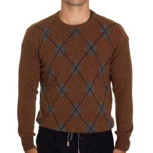 Eleventy Cognac Argyle Crew Neck Sweater XL Italy